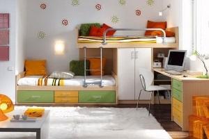 Giường kết hợp giá sách, tủ áo tiện nghi cho bé