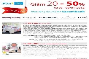 Ưu đãi từ 20%-50% cho chủ thẻ Sacombank