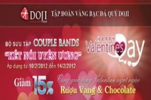 Trang sức DOJI giảm giá 15% nhân dịp Valentine