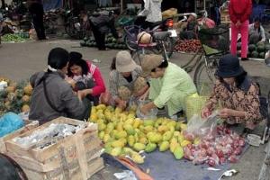 Chợ quê, rau mầm hút hàng