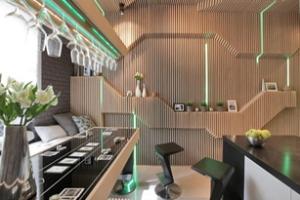 Nhà bếp tuyệt đẹp với tường gỗ