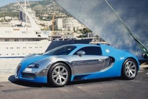 Bugatti Veyron 16.4 Centenaire trong nắng vàng biển xanh ở Monaco