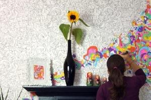 Giấy dán tường là tranh tô màu
