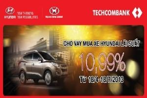 Lãi suất 10,99%/năm cho vay mua xe Hyundai