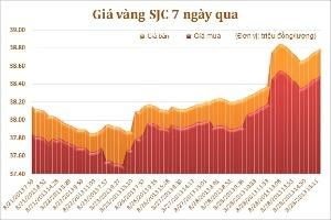 Chiều ngày 28/8: Giá vàng tăng mạnh 500 - 600 nghìn đồng/lượng