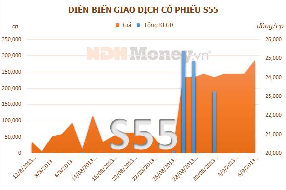 S55: Chi trả cổ tức năm 2012 tỷ lệ 20%