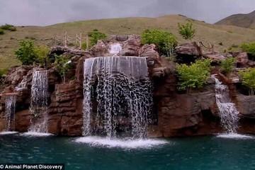 Khám phá bể bơi 2 triệu USD với thác nước cùng núi nhân tạo