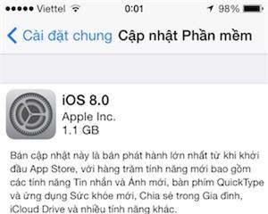 Người dùng iPhone, iPad tại Việt Nam đã có thể cập nhật iOS 8