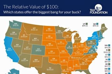 Giá trị thực của 100 USD tại mỗi bang ở Mỹ