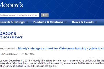 """Moody's nâng triển vọng ngân hàng Việt Nam từ """"tiêu cực"""" lên """"ổn định"""""""