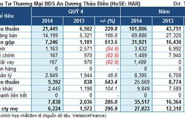 HAR: Cả năm lãi gần 28 tỷ đồng, gấp 2.3 cùng kỳ nhưng vẫn chưa hoàn thành kế hoạch