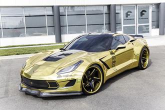 Chevrolet Corvette Stingray bọc chrome vàng
