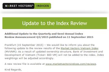 BID bất ngờ không được đưa vào danh mục của Market Vectors