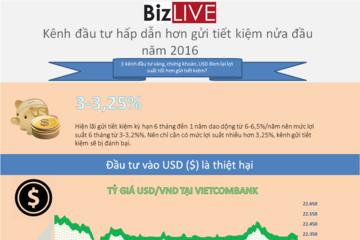 [Infographic] Những kênh đầu tư hấp dẫn hơn gửi tiết kiệm nửa đầu năm 2016