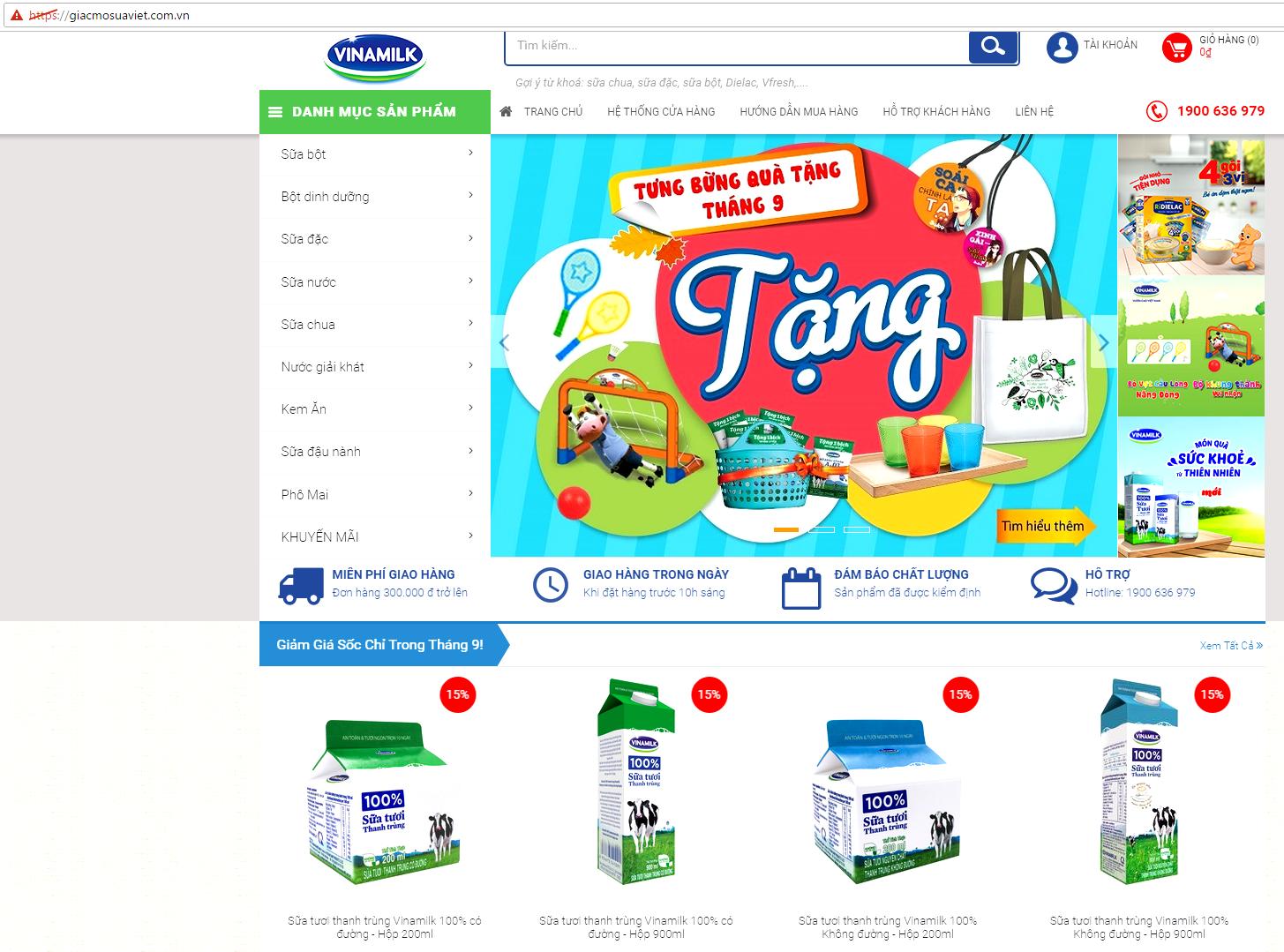 Vinamilk kinh doanh sữa online