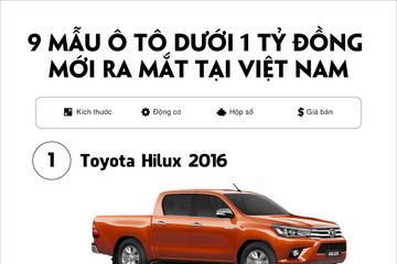 [Infographic] 9 mẫu ô tô dưới 1 tỷ đồng mới ra mắt tại Việt Nam