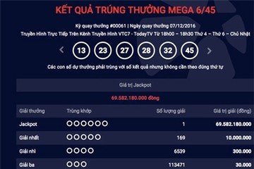 Người Việt thứ 6 trúng jackpot xổ số 70 tỷ đồng