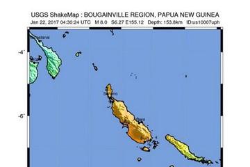 Động đất 8 độ Richter ở Paupua New Guniea, cảnh báo sóng thần