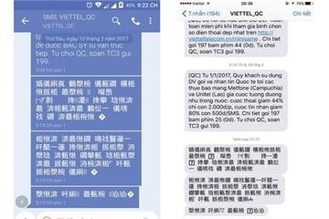 Thuê bao Viettel nhận được tin nhắn quảng cáo chữ tượng hình