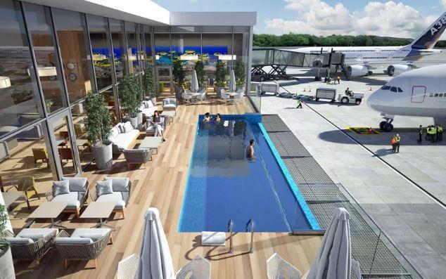 Dominica: Bể bơi trong phòng chờ sân bay