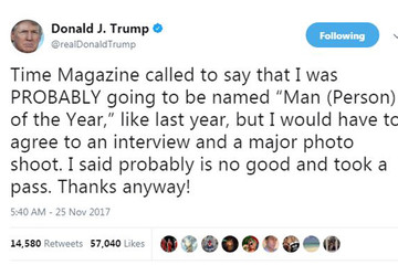 Không chắc được làm 'Nhân vật của năm', ông Trump từ chối trả lời tạp chí Time