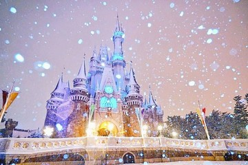 Disneyland ở Tokyo lộng lẫy dưới tuyết trắng