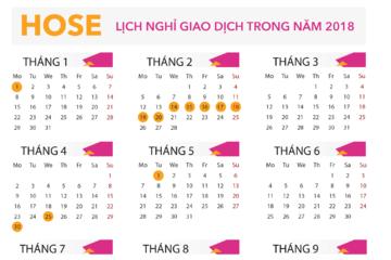 HOSE công bố lịch nghỉ giao dịch trong năm 2018