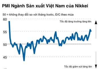 PMI Việt Nam tháng 7 giảm nhẹ về 54,9 điểm, lượng đơn đặt hàng xuất khẩu mới tăng nhanh