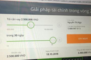 Cho vay tiền trực tuyến lãi suất 720% mỗi năm