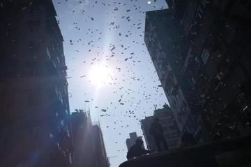 Mưa tiền gây náo loạn trên phố Hong Kong