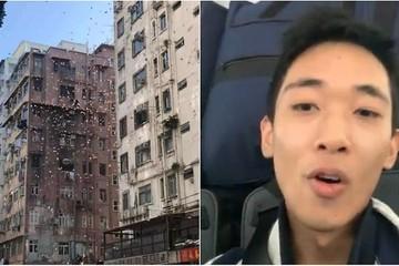 Hong Kong bắt thanh niên làm 'mưa tiền' giữa phố