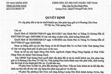 Tung văn bản có chữ ký giả của Chủ tịch UBND tỉnh Quảng Nam để thổi giá đất