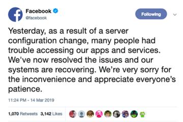 Facebook xác nhận sự cố do thay đổi cấu hình máy chủ