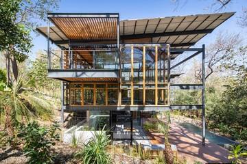 Ngôi nhà bằng gỗ, kính và khung sắt nổi bật giữa rừng cây