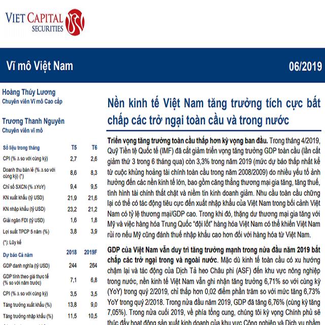 VCSC: Cập nhật Vĩ mô - Nền kinh tế Việt Nam tăng trưởng tích cực bất chấp các trở ngại toàn cầu và trong nước