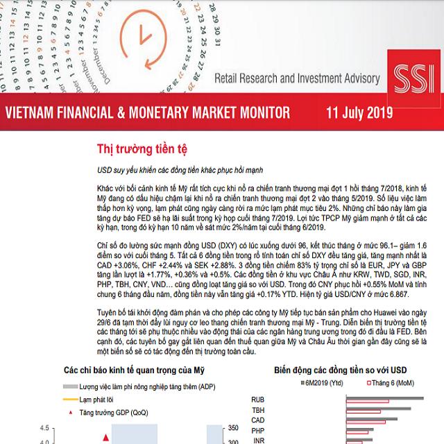 SSI Retail Research: Báo cáo thị trường tài chính tiền tệ Việt Nam tháng 6/2019