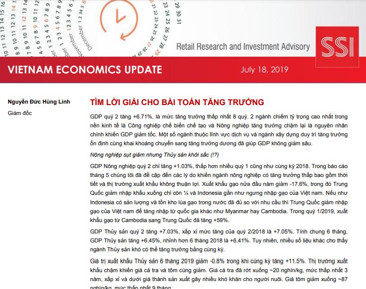 SSI Retail Research: Báo cáo cập nhật kinh tế Việt Nam quý II/2019
