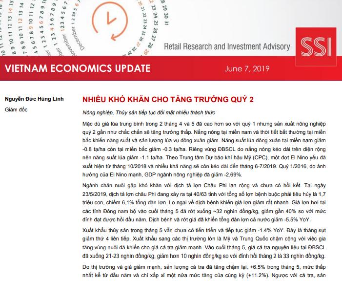 SSI Retail Research: Báo cáo cập nhật kinh tế Việt Nam tháng 5/2019