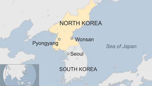 Vị trí thủ đô Bình Nhưỡng và thành phố Wonsan của Triều Tiên. Đồ họa: BBC.
