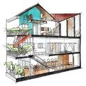 <p> Nhà gồm 3 tầng được xây dựng trên khuôn viên có diện tích 75 m2. Trong đó, tầng 1 và 2 là showroom, tầng 3 là không gian sống của gia đình.</p>