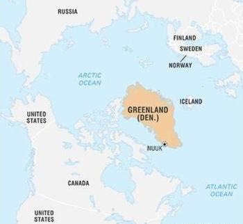 Greenland nằm ở Bắc Băng Dương, giữa Mỹ, Canada, Nga, Phần Lan, Na Uy, Iceland, Thụy Điển. Ảnh: Britannica.