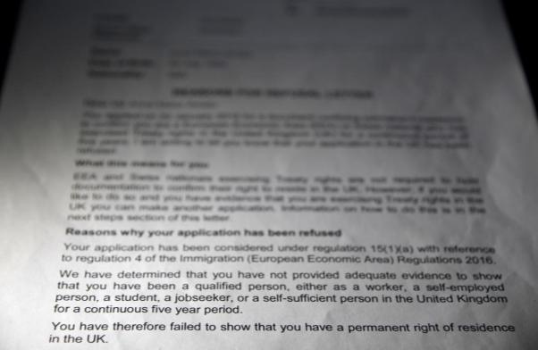 Một phần lá thư từ chối được Bộ Nội vụ Anh gửi cho bà Amato. Ảnh: Reuters.