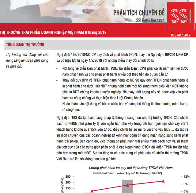 SSI Retail Research: Thị trường trái phiếu doanh nghiệp Việt Nam 8 tháng đầu năm 2019