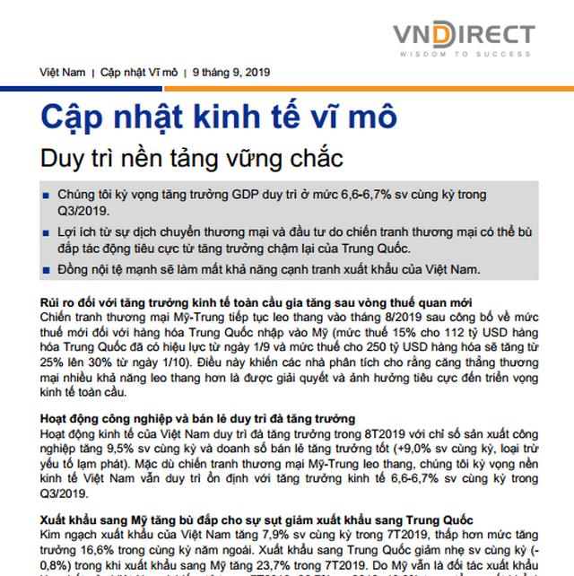 VNDS: Cập nhật kinh tế vĩ mô - Duy trì nền tảng vững chắc