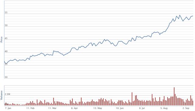 Diễn biến giá cổ phiếu FPT từ đầu năm. Nguồn: VNDS