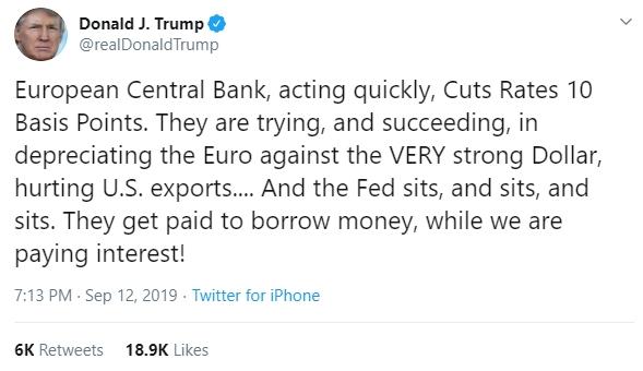 Tổng thống Donald Trump công kích Fed trên Twitter cá nhân. Ảnh: Twitter/@realDonaldTrump