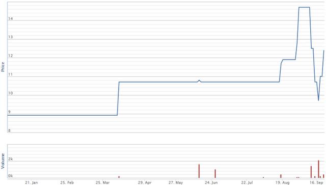 Diễn biến giao dịch cổ phiếu HHV từ đầu năm. Nguồn: VNDS.