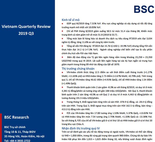 BSC: Báo cáo vĩ mô và thị trường quý III/2019 - Tạo nền vững chắc, chờ dòng tiền lớn