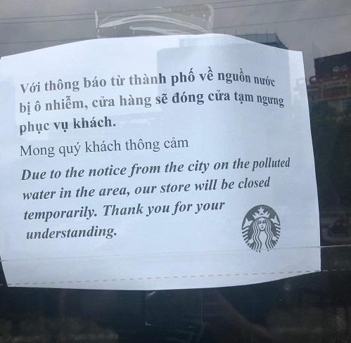 Ô nhiễm nguồn nước, một số cửa hàng Starbucks ở Hà Nội tạm đóng cửa