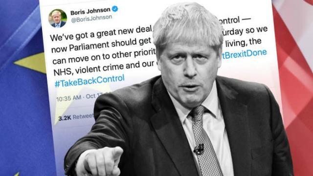 Thủ tướng Anh Boris Johnson thông báo đạt thỏa thuận Brexit với các lãnh đạo EU. Ảnh: FT.
